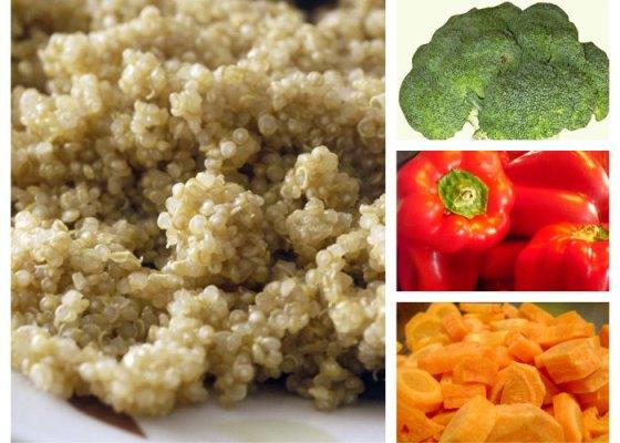 Kvinoaa ja kasviksia