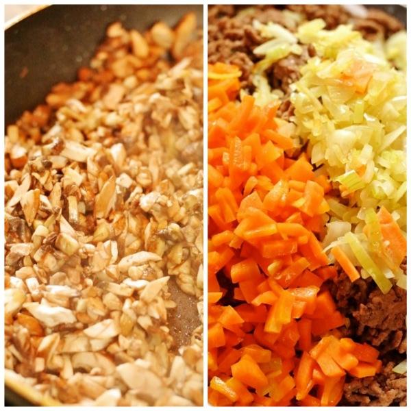 Paistettuja herkkusieniä, porkkanaa ja sipulia