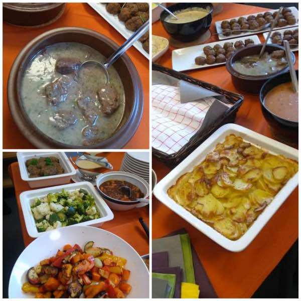 Tililihaa, kasviksia, lihapullia ja kermaperunoita
